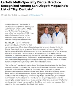 "AACD-Accredited Dentists Featured as ""Top Dentists"" in San Diego Magazine"